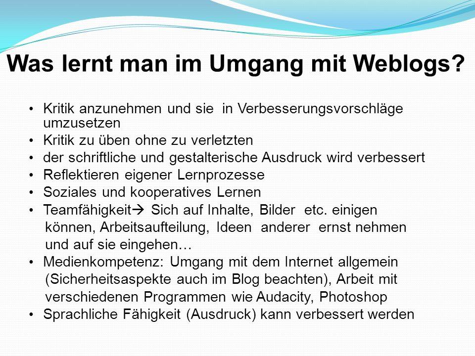 Was lernt man im Umgang mit Weblogs? Kritik anzunehmen und sie in Verbesserungsvorschläge umzusetzen Kritik zu üben ohne zu verletzten der schriftlich