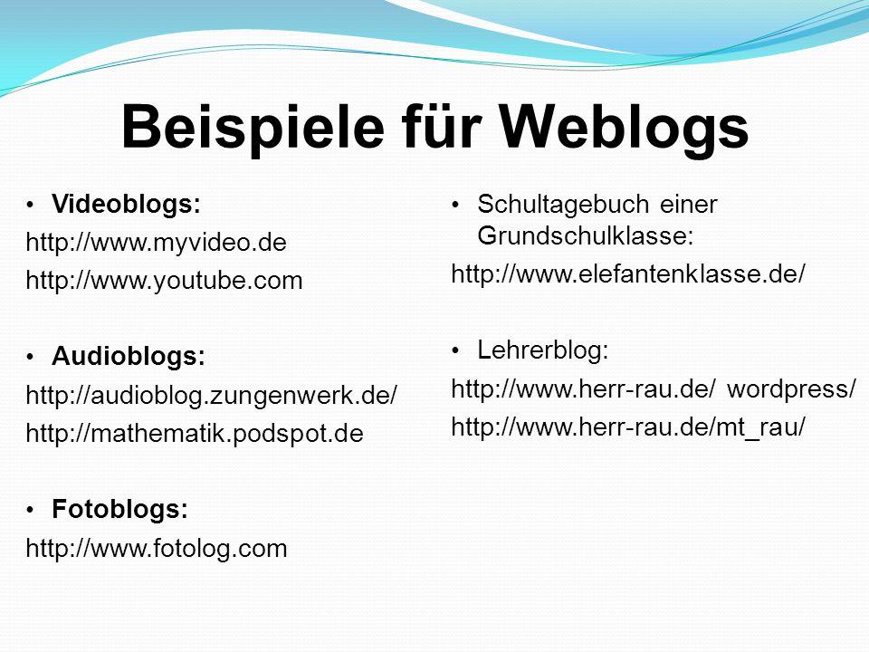 Beispiele für Weblogs Videoblogs: http://www.myvideo.de http://www.youtube.com Audioblogs: http://audioblog.zungenwerk.de/ http://mathematik.podspot.de Fotoblogs: http://www.fotolog.com Schultagebuch einer Grundschulklasse: http://www.elefantenklasse.de/ Lehrerblog: http://www.herr-rau.de/ wordpress/ http://www.herr-rau.de/mt_rau/