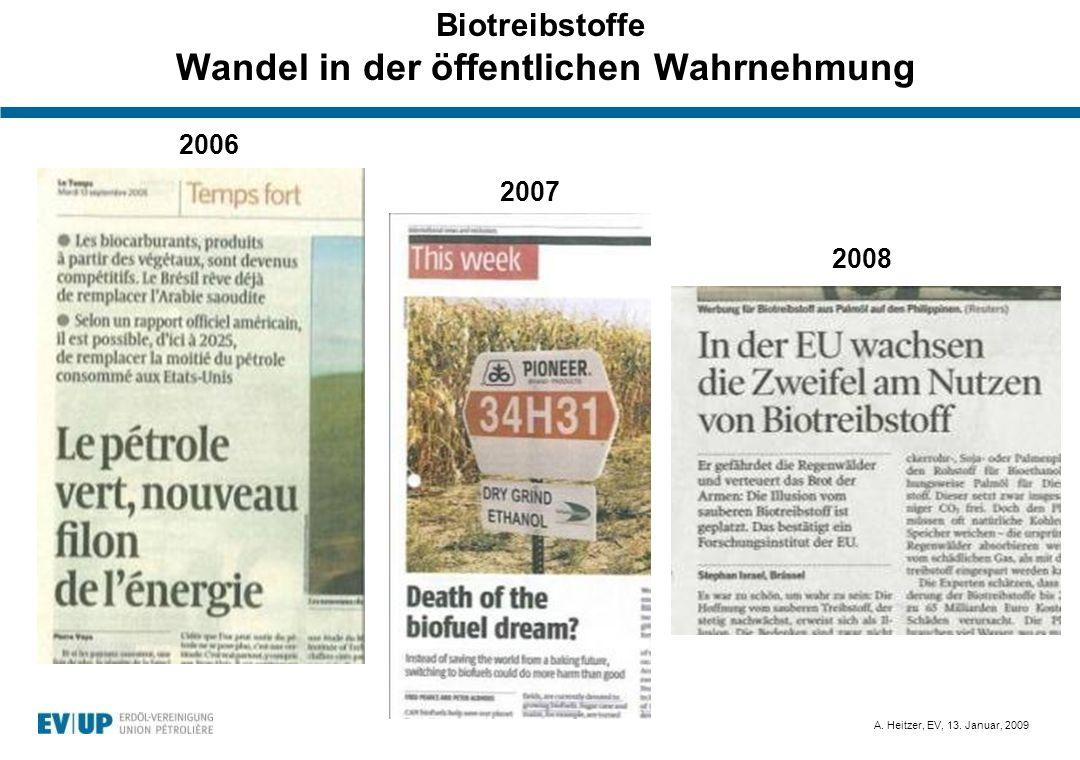 A. Heitzer, EV, 13. Januar, 2009 Biotreibstoffe Wandel in der öffentlichen Wahrnehmung 2006 2007 2008