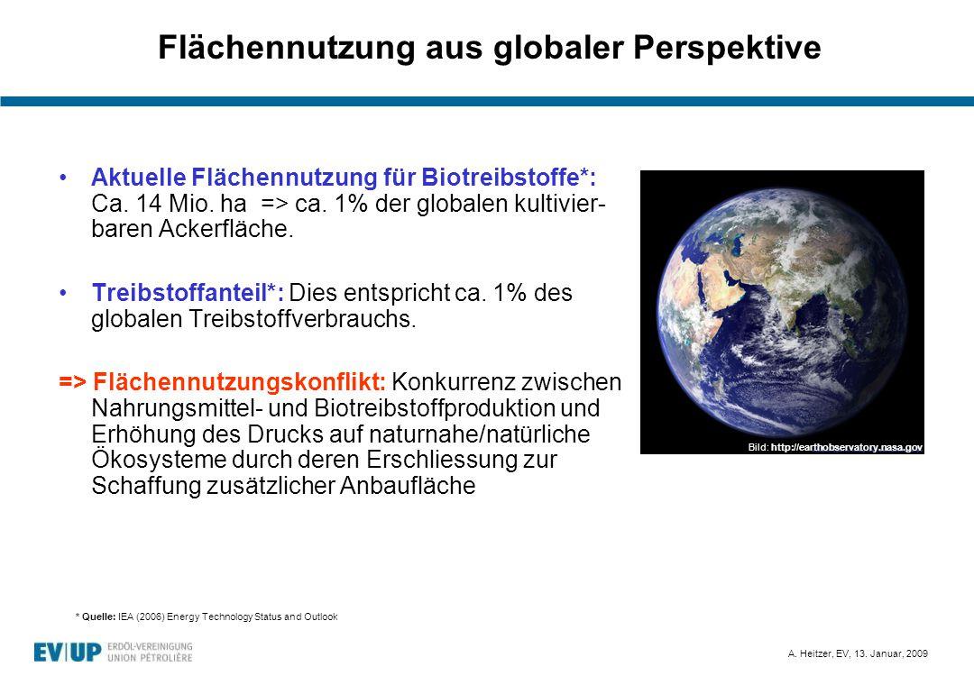 A. Heitzer, EV, 13. Januar, 2009 Flächennutzung aus globaler Perspektive Aktuelle Flächennutzung für Biotreibstoffe*: Ca. 14 Mio. ha => ca. 1% der glo