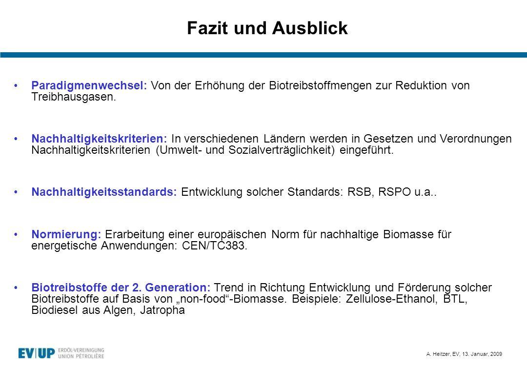 A. Heitzer, EV, 13. Januar, 2009 Fazit und Ausblick Bild: http://earthobservatory.nasa.gov Paradigmenwechsel: Von der Erhöhung der Biotreibstoffmengen