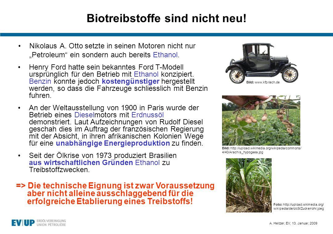 """A. Heitzer, EV, 13. Januar, 2009 Biotreibstoffe sind nicht neu! Nikolaus A. Otto setzte in seinen Motoren nicht nur """"Petroleum"""" ein sondern auch berei"""