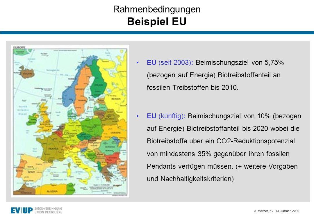A. Heitzer, EV, 13. Januar, 2009 Rahmenbedingungen Beispiel EU EU (seit 2003): Beimischungsziel von 5,75% (bezogen auf Energie) Biotreibstoffanteil an