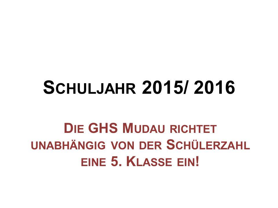 S CHULJAHR 2015/ 2016 D IE GHS M UDAU RICHTET UNABHÄNGIG VON DER S CHÜLERZAHL EINE 5. K LASSE EIN !
