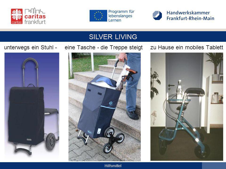 SILVER LIVING Hilfsmittel unterwegs ein Stuhl - eine Tasche - die Treppe steigt zu Hause ein mobiles Tablett