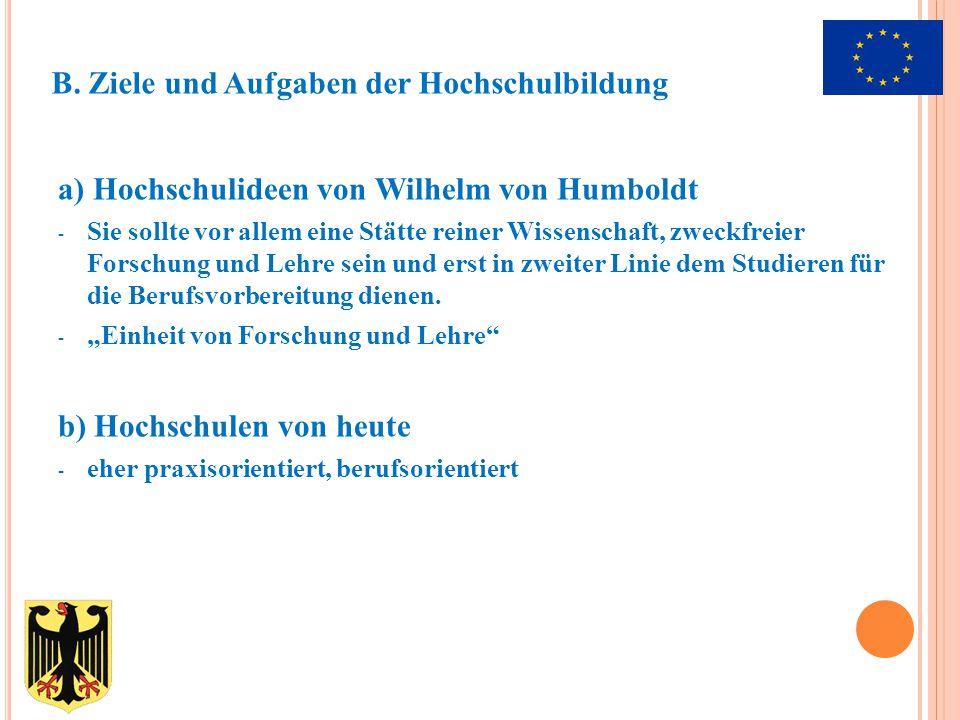 a) Hochschulideen von Wilhelm von Humboldt - Sie sollte vor allem eine Stätte reiner Wissenschaft, zweckfreier Forschung und Lehre sein und erst in zweiter Linie dem Studieren für die Berufsvorbereitung dienen.