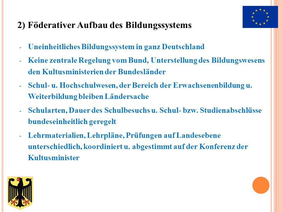 - Uneinheitliches Bildungssystem in ganz Deutschland - Keine zentrale Regelung vom Bund, Unterstellung des Bildungswesens den Kultusministerien der Bu