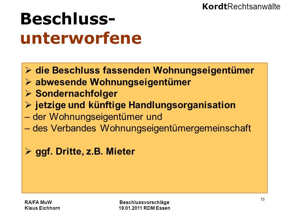 Kordt Rechtsanwälte RA/FA MuW Klaus Eichhorn Beschlussvorschläge 19.01.2011 RDM Essen 19 Beschluss- unterworfene  die Beschluss fassenden Wohnungseig