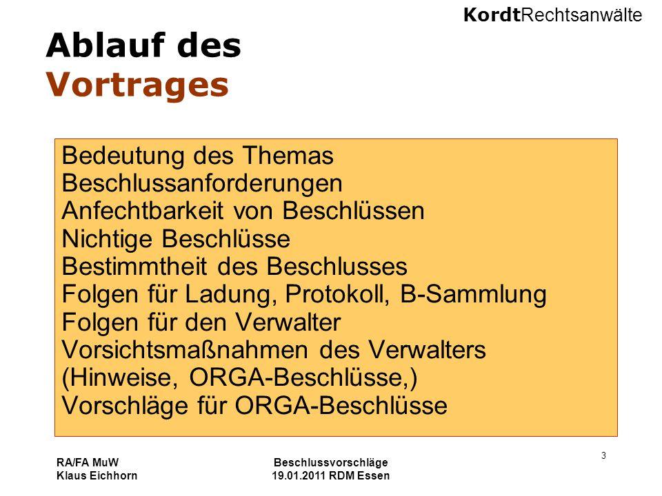 Kordt Rechtsanwälte RA/FA MuW Klaus Eichhorn Beschlussvorschläge 19.01.2011 RDM Essen 3 Ablauf des Vortrages Bedeutung des Themas Beschlussanforderung