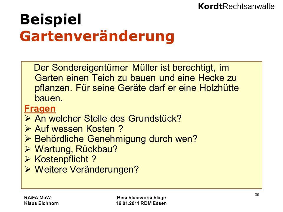 Kordt Rechtsanwälte RA/FA MuW Klaus Eichhorn Beschlussvorschläge 19.01.2011 RDM Essen 30 Beispiel Gartenveränderung Der Sondereigentümer Müller ist be