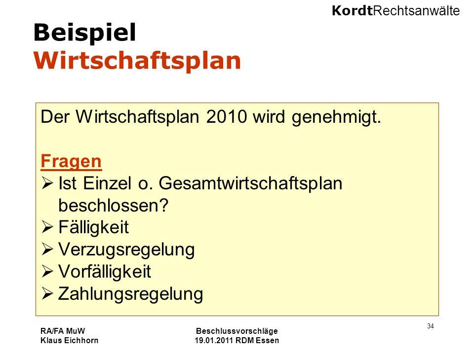 Kordt Rechtsanwälte RA/FA MuW Klaus Eichhorn Beschlussvorschläge 19.01.2011 RDM Essen 34 Beispiel Wirtschaftsplan Der Wirtschaftsplan 2010 wird genehm