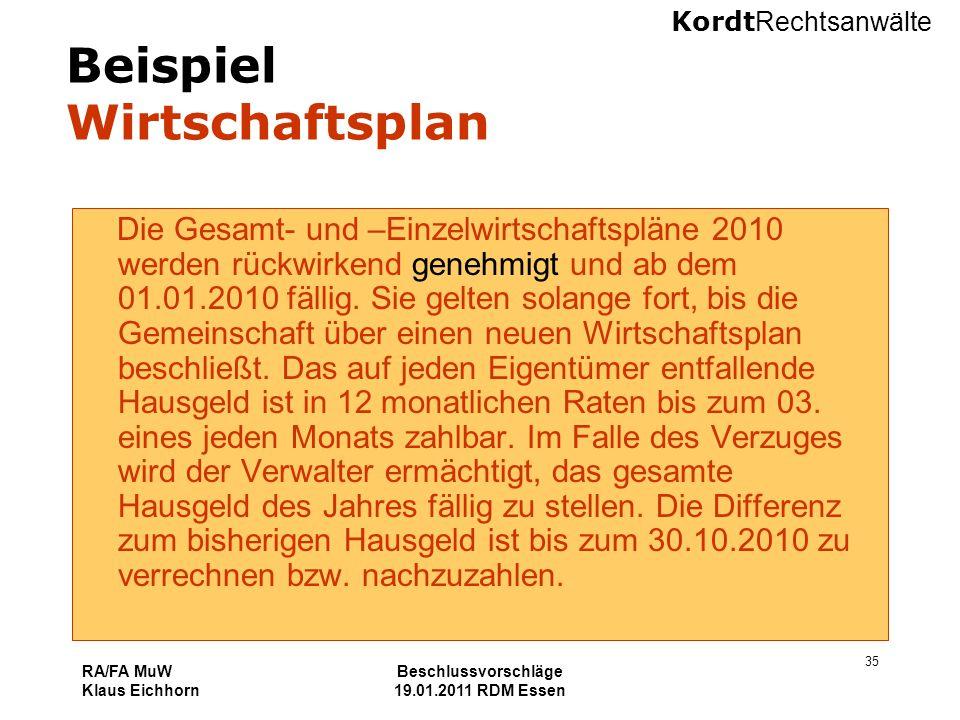 Kordt Rechtsanwälte RA/FA MuW Klaus Eichhorn Beschlussvorschläge 19.01.2011 RDM Essen 35 Beispiel Wirtschaftsplan Die Gesamt- und –Einzelwirtschaftspl