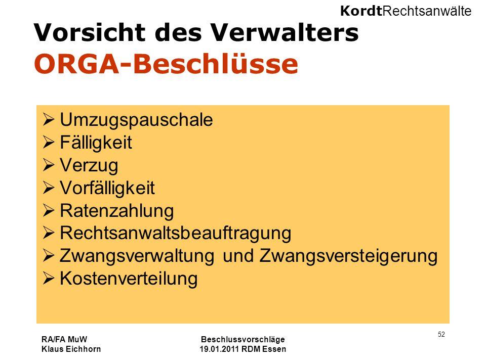 Kordt Rechtsanwälte RA/FA MuW Klaus Eichhorn Beschlussvorschläge 19.01.2011 RDM Essen 52 Vorsicht des Verwalters ORGA-Beschlüsse  Umzugspauschale  F