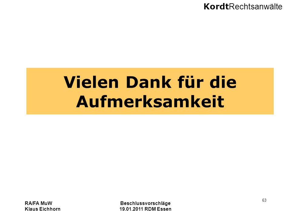 Kordt Rechtsanwälte RA/FA MuW Klaus Eichhorn Beschlussvorschläge 19.01.2011 RDM Essen 63 Vielen Dank für die Aufmerksamkeit