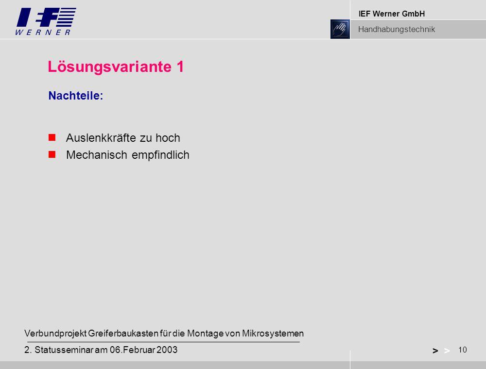 IEF Werner GmbH Handhabungstechnik 10 > Verbundprojekt Greiferbaukasten für die Montage von Mikrosystemen 2.
