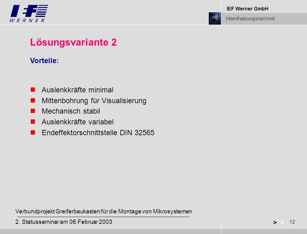 IEF Werner GmbH Handhabungstechnik 12 > Verbundprojekt Greiferbaukasten für die Montage von Mikrosystemen 2. Statusseminar am 06.Februar 2003 Lösungsv