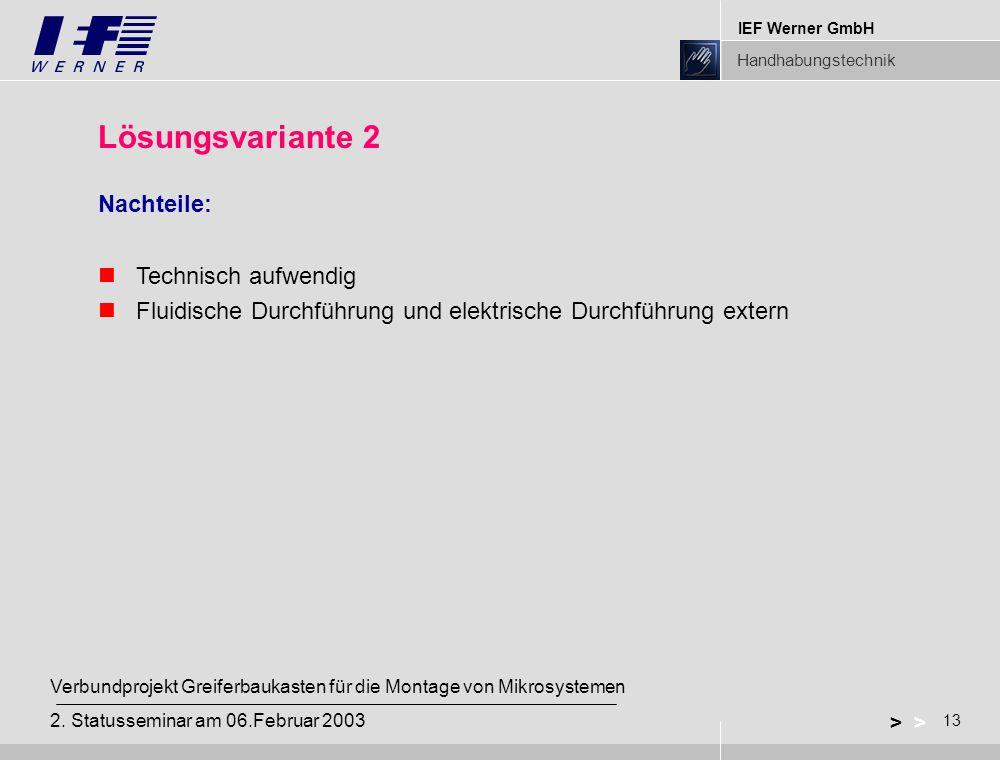IEF Werner GmbH Handhabungstechnik 13 > Verbundprojekt Greiferbaukasten für die Montage von Mikrosystemen 2. Statusseminar am 06.Februar 2003 Lösungsv