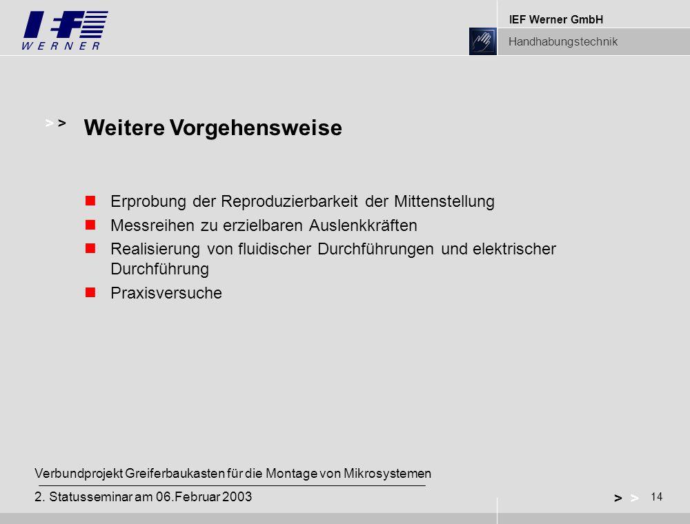 IEF Werner GmbH Handhabungstechnik 14 > Verbundprojekt Greiferbaukasten für die Montage von Mikrosystemen 2. Statusseminar am 06.Februar 2003 Erprobun