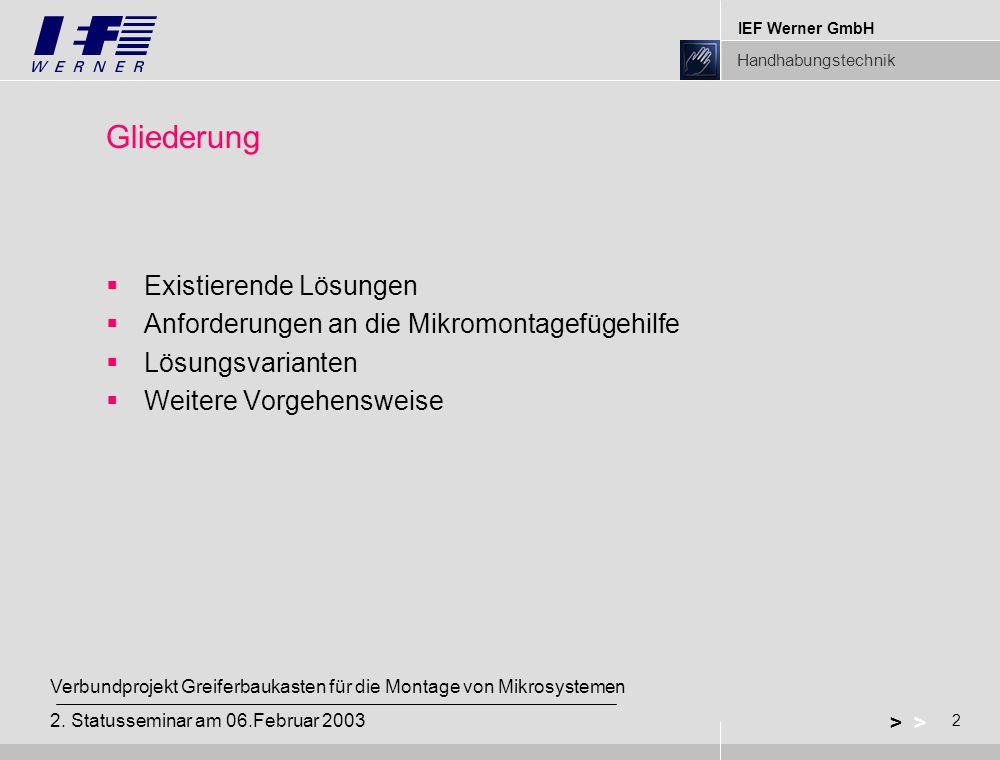 IEF Werner GmbH Handhabungstechnik 2 > Verbundprojekt Greiferbaukasten für die Montage von Mikrosystemen 2.