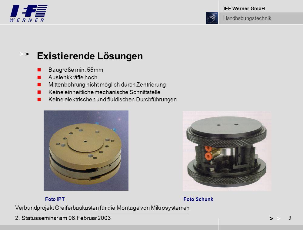 IEF Werner GmbH Handhabungstechnik 3 > Verbundprojekt Greiferbaukasten für die Montage von Mikrosystemen 2. Statusseminar am 06.Februar 2003 Baugröße