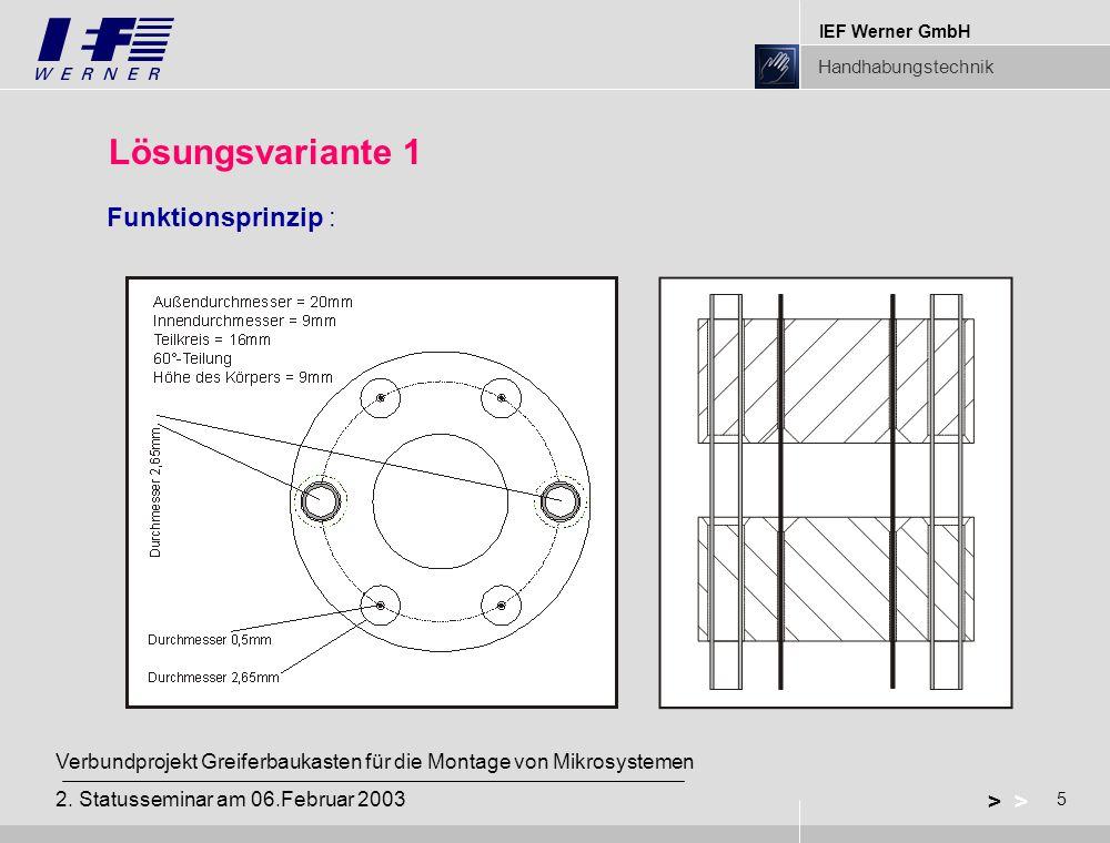 IEF Werner GmbH Handhabungstechnik 5 > Verbundprojekt Greiferbaukasten für die Montage von Mikrosystemen 2. Statusseminar am 06.Februar 2003 Lösungsva