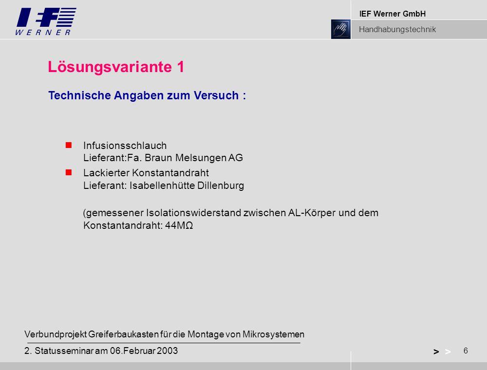 IEF Werner GmbH Handhabungstechnik 6 > Verbundprojekt Greiferbaukasten für die Montage von Mikrosystemen 2. Statusseminar am 06.Februar 2003 Lösungsva