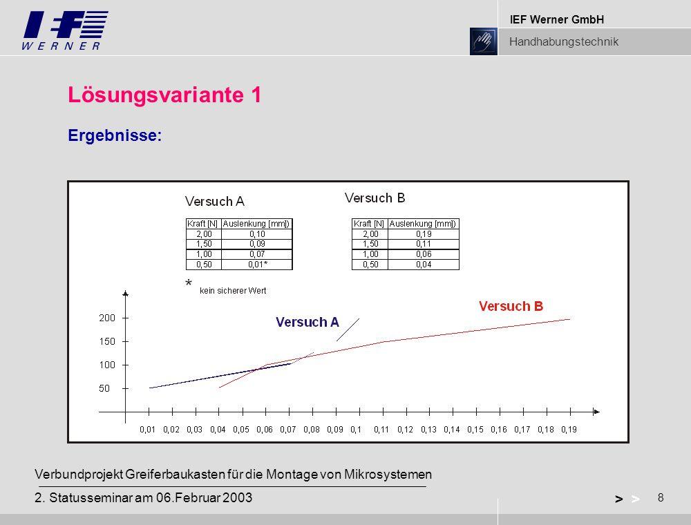 IEF Werner GmbH Handhabungstechnik 8 > Verbundprojekt Greiferbaukasten für die Montage von Mikrosystemen 2. Statusseminar am 06.Februar 2003 Lösungsva