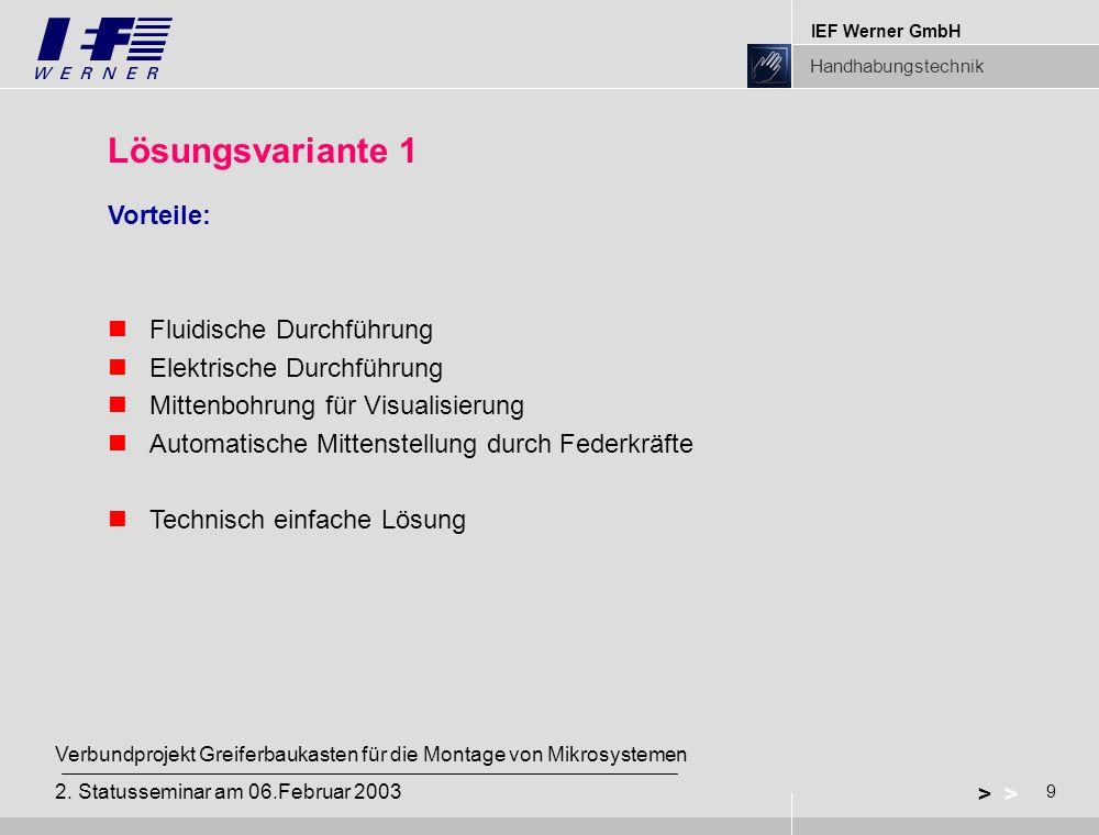 IEF Werner GmbH Handhabungstechnik 9 > Verbundprojekt Greiferbaukasten für die Montage von Mikrosystemen 2. Statusseminar am 06.Februar 2003 Lösungsva
