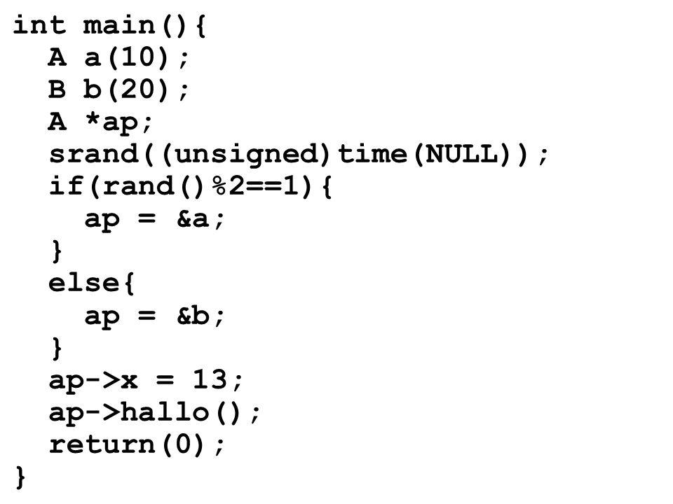 int main(){ A a(10); B b(20); A *ap; srand((unsigned)time(NULL)); if(rand()%2==1){ ap = &a; } else{ ap = &b; } ap->x = 13; ap->hallo(); return(0); }