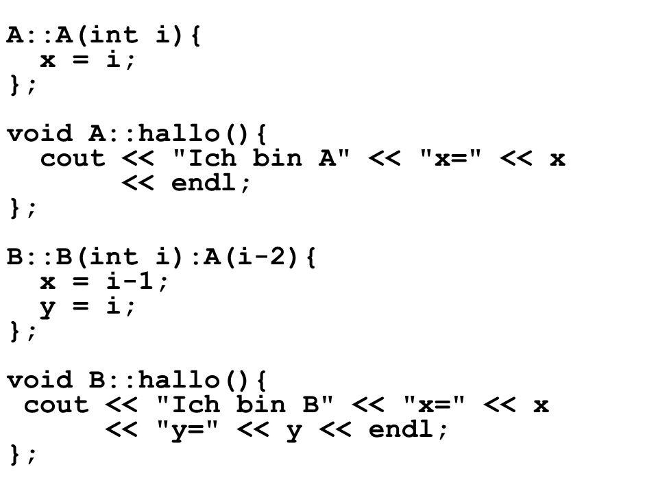 A::A(int i){ x = i; }; void A::hallo(){ cout << Ich bin A << x= << x << endl; }; B::B(int i):A(i-2){ x = i-1; y = i; }; void B::hallo(){ cout << Ich bin B << x= << x << y= << y << endl; };
