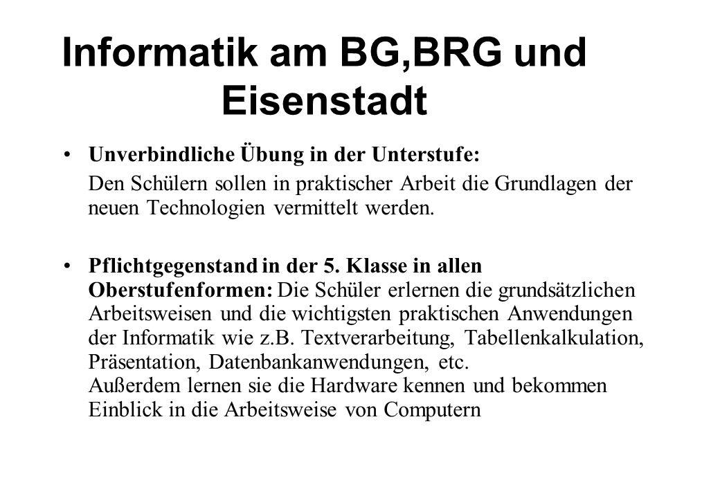 Informatik am BG,BRG und Eisenstadt Unverbindliche Übung in der Unterstufe: Den Schülern sollen in praktischer Arbeit die Grundlagen der neuen Technologien vermittelt werden.