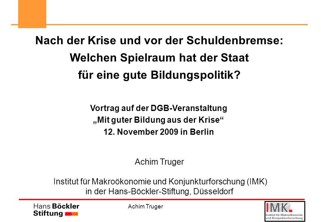 Achim Truger Nach der Krise und vor der Schuldenbremse: Welchen Spielraum hat der Staat für eine gute Bildungspolitik.