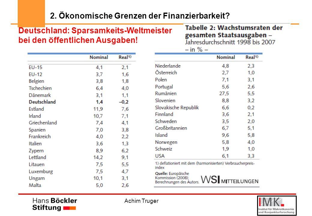 Achim Truger Deutschland: Sparsamkeits-Weltmeister bei den öffentlichen Ausgaben.