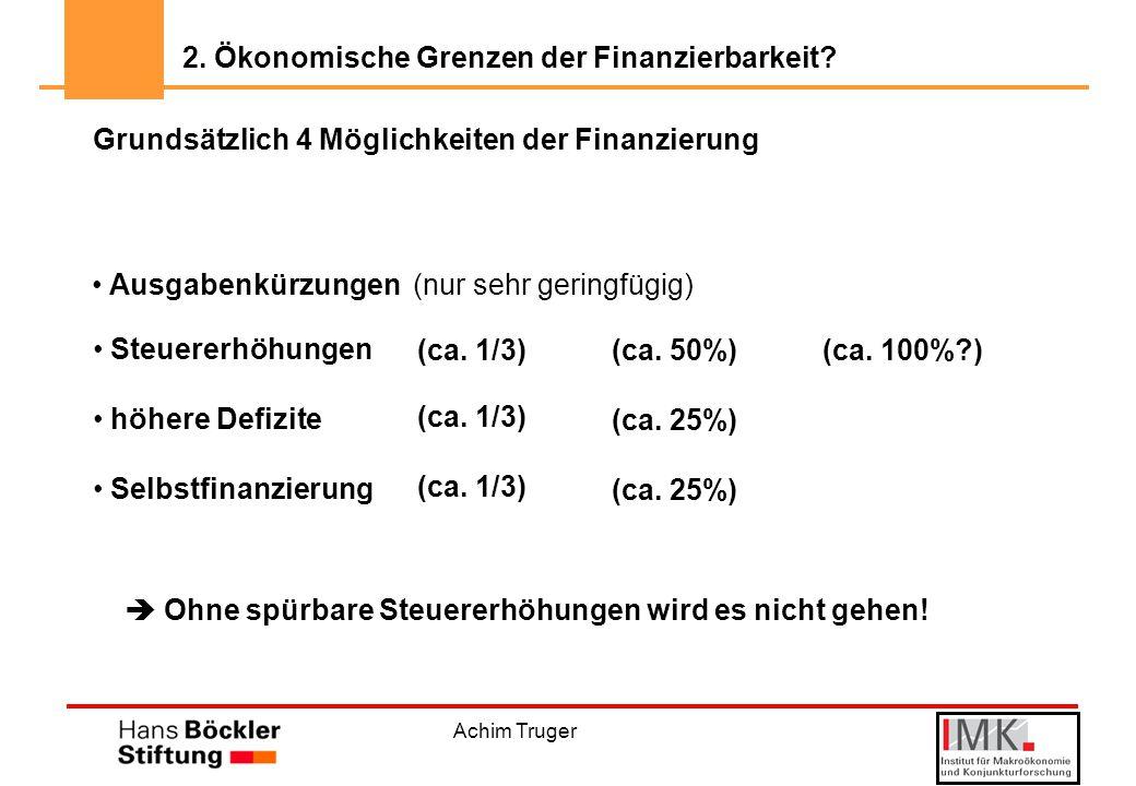 Achim Truger Grundsätzlich 4 Möglichkeiten der Finanzierung Steuererhöhungen höhere Defizite Selbstfinanzierung (nur sehr geringfügig) Ausgabenkürzungen (ca.