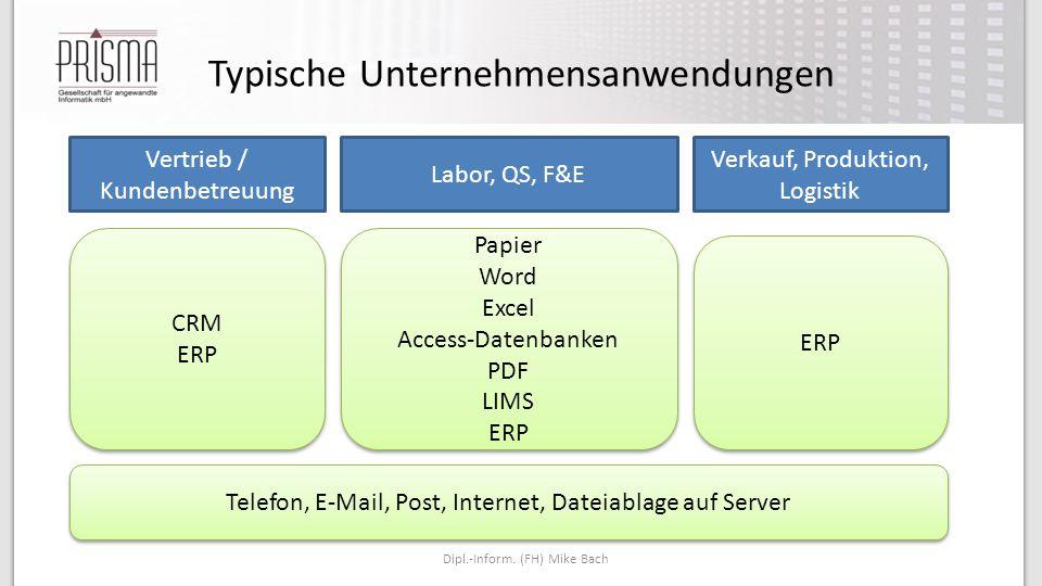 Typische Unternehmensanwendungen Dipl.-Inform. (FH) Mike Bach Vertrieb / Kundenbetreuung Verkauf, Produktion, Logistik Labor, QS, F&E CRM ERP CRM ERP