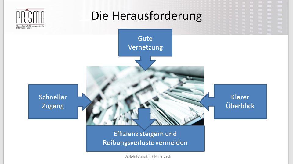 Die Herausforderung Dipl.-Inform. (FH) Mike Bach Schneller Zugang Klarer Überblick Gute Vernetzung Effizienz steigern und Reibungsverluste vermeiden