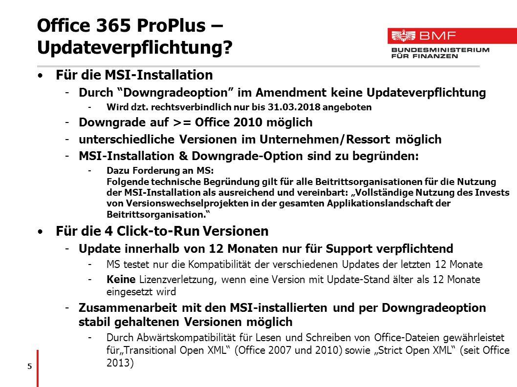 Office 365 ProPlus – Updateverpflichtung.