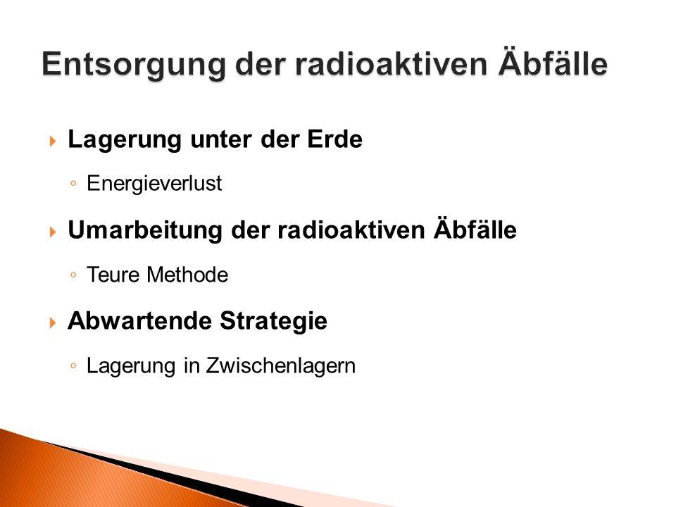  Lagerung unter der Erde ◦ Energieverlust  Umarbeitung der radioaktiven Äbfälle ◦ Teure Methode  Abwartende Strategie ◦ Lagerung in Zwischenlagern