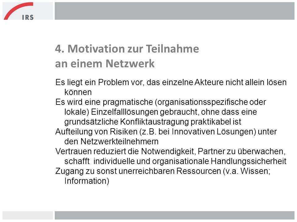 4. Motivation zur Teilnahme an einem Netzwerk Es liegt ein Problem vor, das einzelne Akteure nicht allein lösen können Es wird eine pragmatische (orga