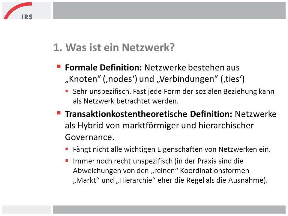 """1. Was ist ein Netzwerk?  Formale Definition: Netzwerke bestehen aus """"Knoten"""" ('nodes') und """"Verbindungen"""" ('ties')  Sehr unspezifisch. Fast jede Fo"""