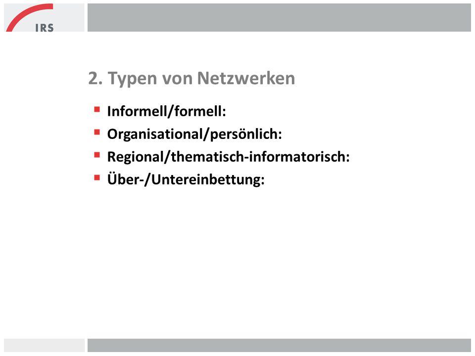 2. Typen von Netzwerken  Informell/formell:  Organisational/persönlich:  Regional/thematisch-informatorisch:  Über-/Untereinbettung: