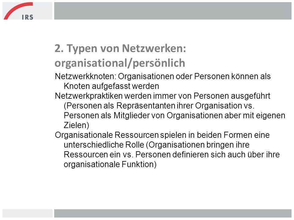 2. Typen von Netzwerken: organisational/persönlich Netzwerkknoten: Organisationen oder Personen können als Knoten aufgefasst werden Netzwerkpraktiken