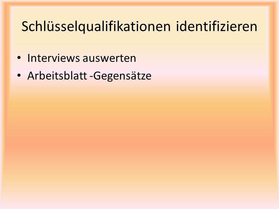 Schlüsselqualifikationen identifizieren Interviews auswerten Arbeitsblatt -Gegensätze