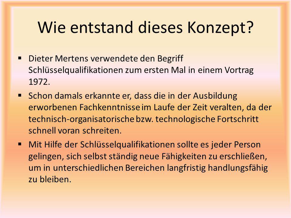 Wie entstand dieses Konzept?  Dieter Mertens verwendete den Begriff Schlüsselqualifikationen zum ersten Mal in einem Vortrag 1972.  Schon damals erk