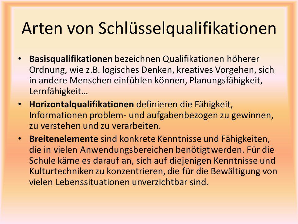 Arten von Schlüsselqualifikationen Basisqualifikationen bezeichnen Qualifikationen höherer Ordnung, wie z.B. logisches Denken, kreatives Vorgehen, sic