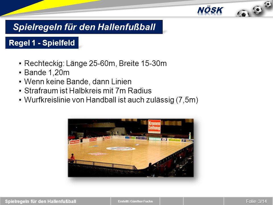 Erstellt: Günther Fuchs Spielregeln für den Hallenfußball Folie 3/14 Regel 1 - Spielfeld Spielregeln für den Hallenfußball Rechteckig: Länge 25-60m, Breite 15-30m Bande 1,20m Wenn keine Bande, dann Linien Strafraum ist Halbkreis mit 7m Radius Wurfkreislinie von Handball ist auch zulässig (7,5m)