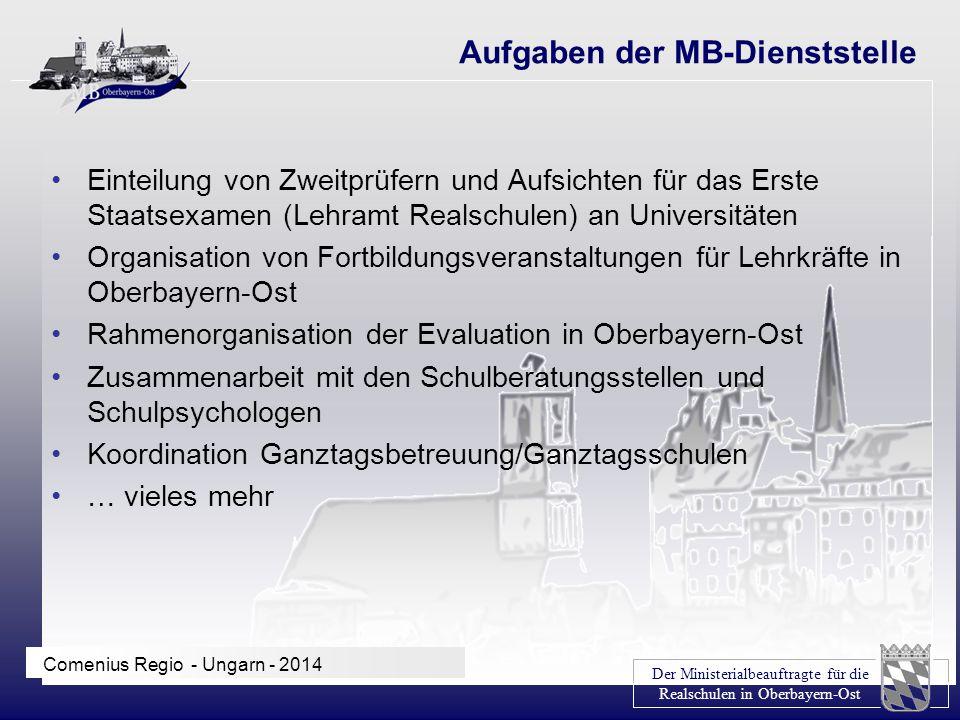 Der Ministerialbeauftragte für die Realschulen in Oberbayern-Ost Comenius Regio - Ungarn - 2014 Einteilung von Zweitprüfern und Aufsichten für das Ers