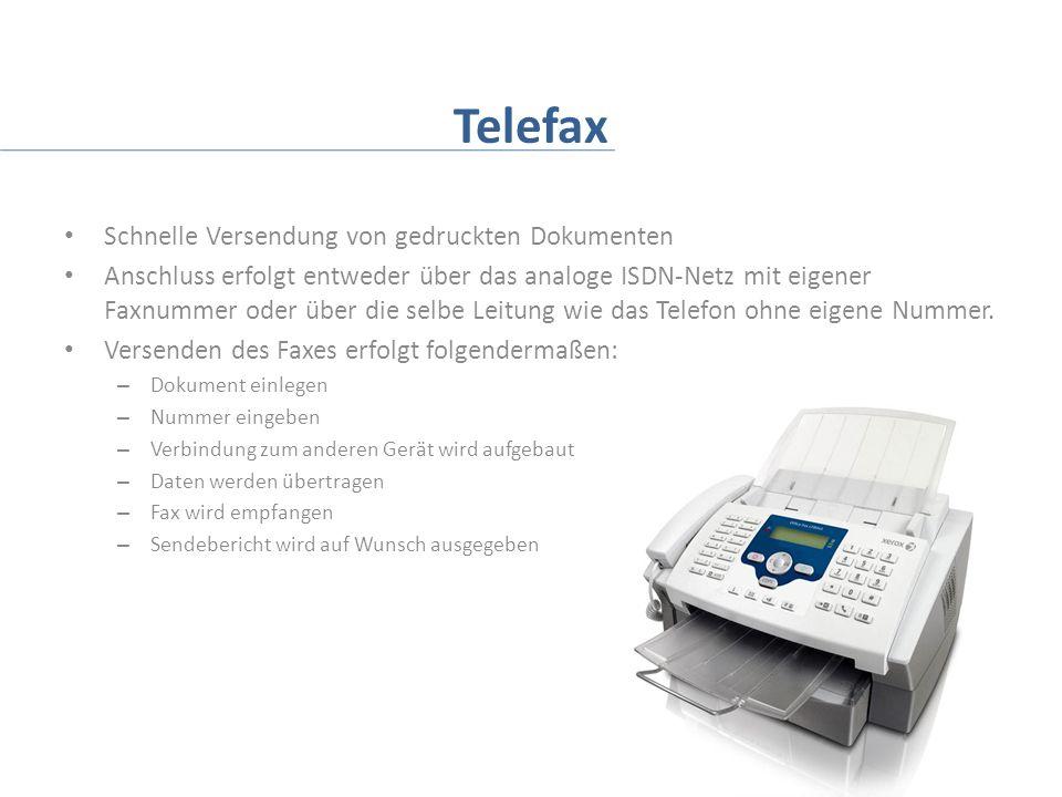 Telefax Schnelle Versendung von gedruckten Dokumenten Anschluss erfolgt entweder über das analoge ISDN-Netz mit eigener Faxnummer oder über die selbe Leitung wie das Telefon ohne eigene Nummer.