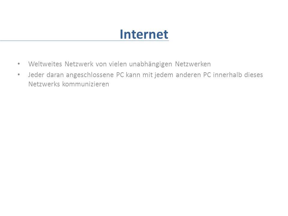 Internet Weltweites Netzwerk von vielen unabhängigen Netzwerken Jeder daran angeschlossene PC kann mit jedem anderen PC innerhalb dieses Netzwerks kommunizieren