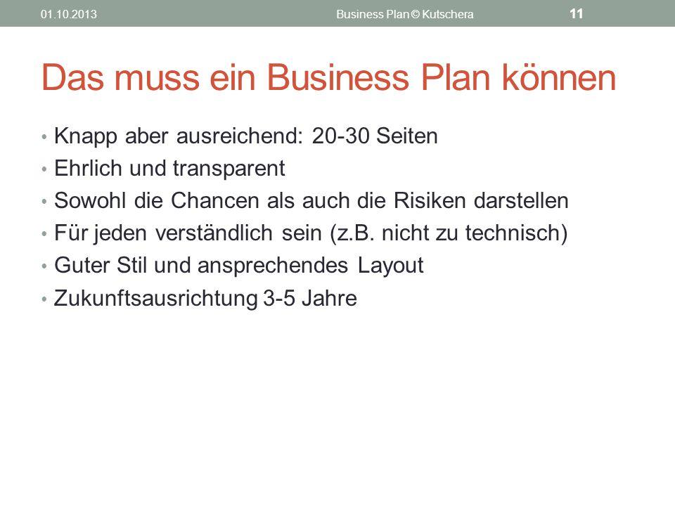 Das muss ein Business Plan können Knapp aber ausreichend: 20-30 Seiten Ehrlich und transparent Sowohl die Chancen als auch die Risiken darstellen Für